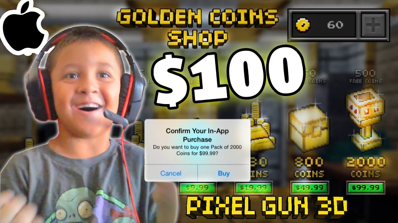 Kid Spends $100 In App Purchase Pixel Gun 3D All Guns WHAT