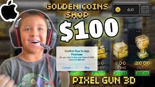 Kid Spends $100 In-App Purchase!!! (Pixel Gun 3D All Guns) WHAT THE WHAT MIKE?!?! pt. 15(Mike spends One Hundred Dollars getting 2000 COINS! He's grounded forever! Note: this was recorded before the update! As was one additional video we have ..., 2014-09-25T18:58:24.000Z)