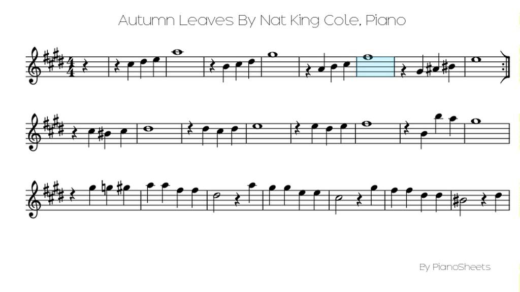 Autumn Leaves By Nat King Cole [Piano Solo] - YouTube