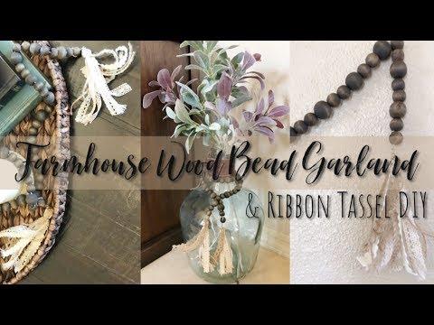 Inexpensive Farmhouse Decor / Wood Bead Garland / DIY Ribbon Tassel