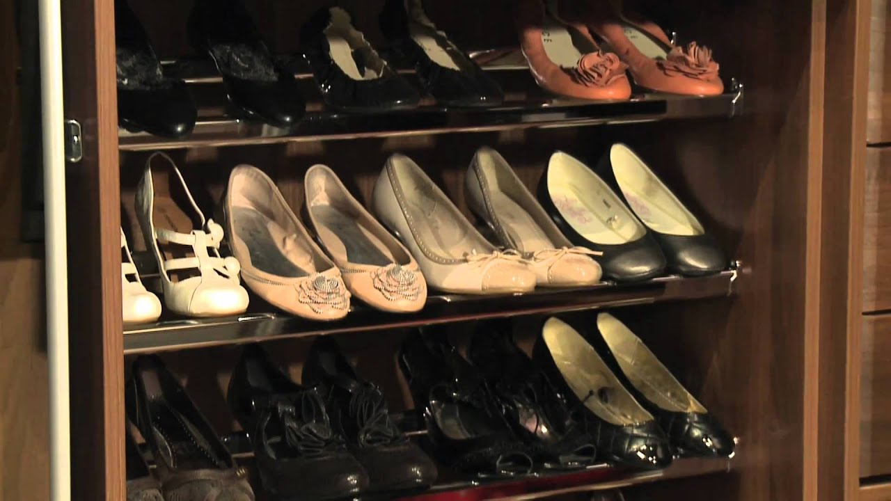 Sliderobes Wardrobe Interior Shallow Shoe Shelves   YouTube