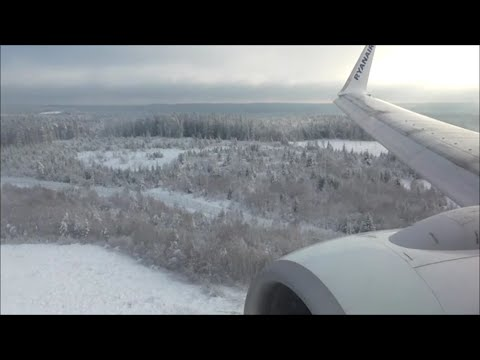 BEAUTIFUL SNOWY ARRIVAL | Gothenburg Landvetter Sweden, Ryanair Boeing 737