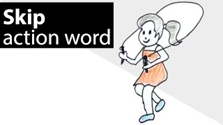How to draw the action word skip ? ( free drawing lessons for kids )
