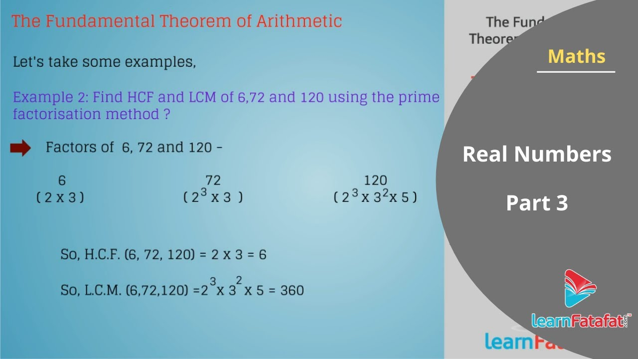 Mathematics Chapter 1 Class 10 CBSE Real Numbers - The Fundamental ...
