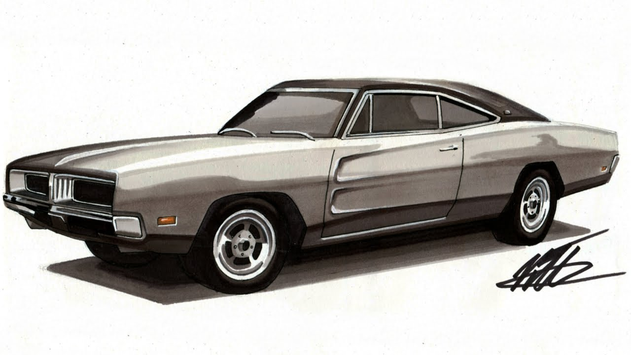 realistic car drawing 1969 dodge charger time lapse youtube. Black Bedroom Furniture Sets. Home Design Ideas