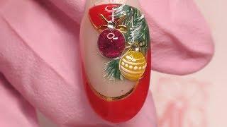 Новогодний дизайн ногтей! Шарики на елке.