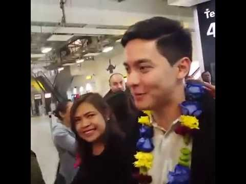 ALDEN ARRIVAL at HEARTROW AIRPORT UK Complete video by GMA Pinoy TV