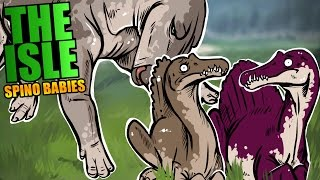 The Isle - BABY SPINOSAURUS GROWING UP & NESTING, ANGRY SHANT CHASES BABIES - The Isle Gameplay