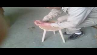 How To Make Stool  Wood Seat Three Legs .
