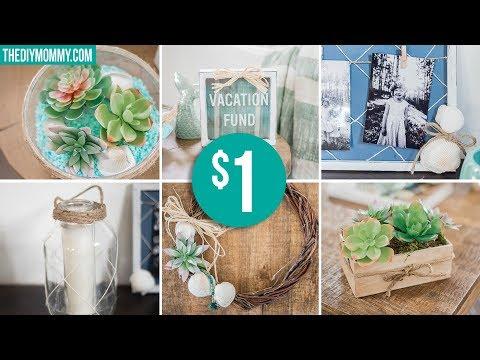DOLLAR TREE SUMMER DIY DECOR ☀ Wreath, Succulent Arrangement, Coastal Frame & More!