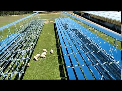 Concentrating solar thermal plant using Fresnel mirrors. Sardinia, Italy