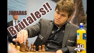 Las 5 MEJORES y más BRUTALES jugadas de Magnus Carlsen! con música. Ajedrez