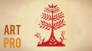 How to draw an easy Tree - Folk Art style
