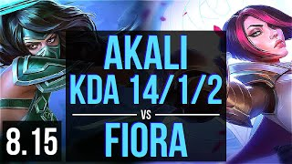 AKALI vs FIORA (TOP) ~ KDA 14/1/2, Legendary ~ Korea Master ~ Patch 8.15