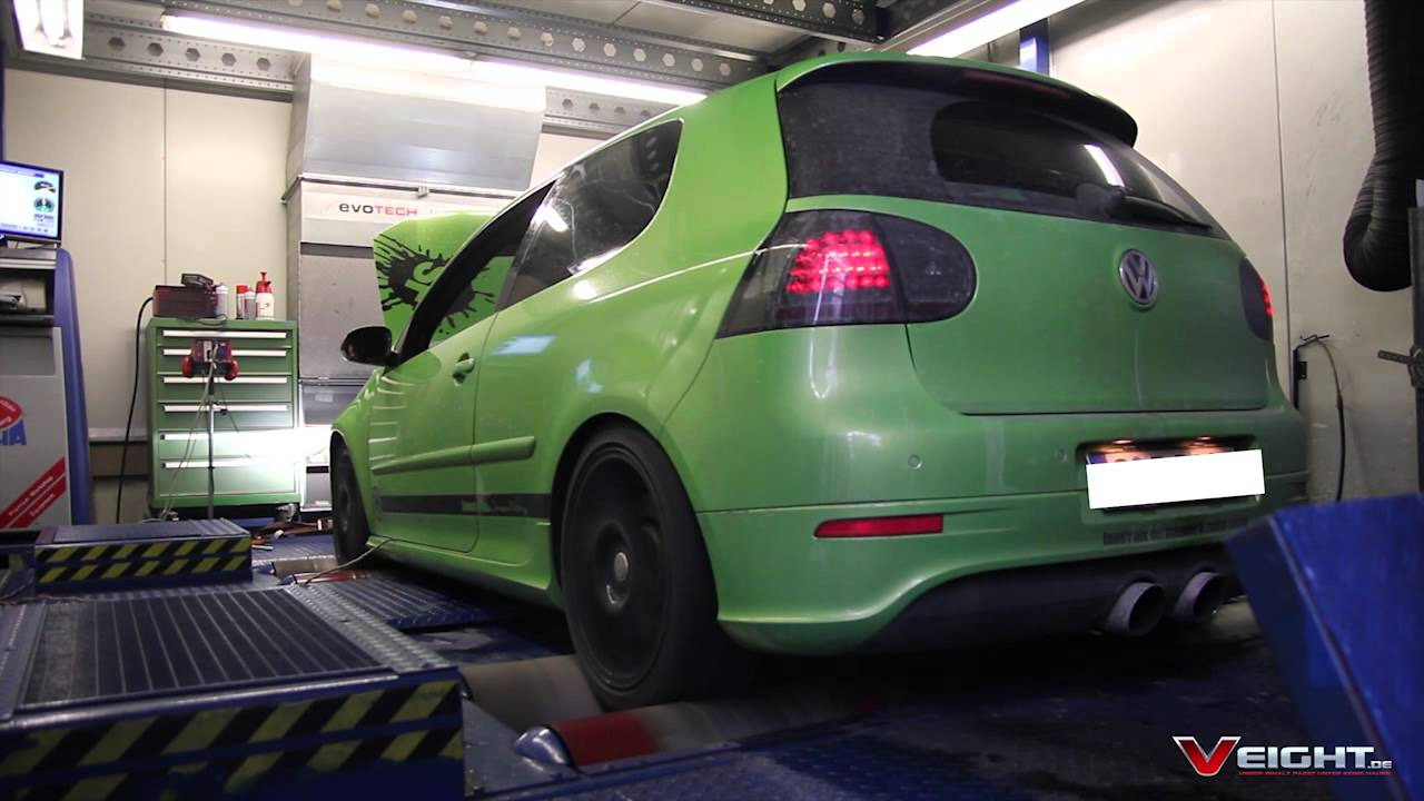 Tuned VW Golf V R32 VR6 Dyno Run 250+ HP - YouTube