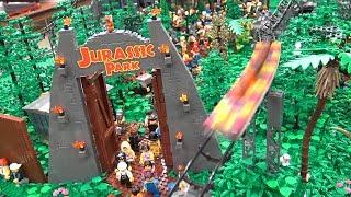 300,000 LEGO Pieces! Jurassic Park Roller Coaster Dino Amusement Park