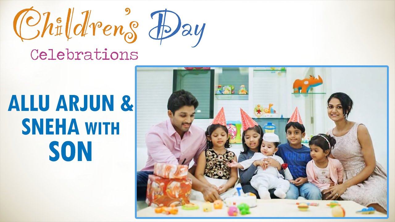 Allu Arjun And Sneha With Son Allu Ayaan Children S Day Celebrations