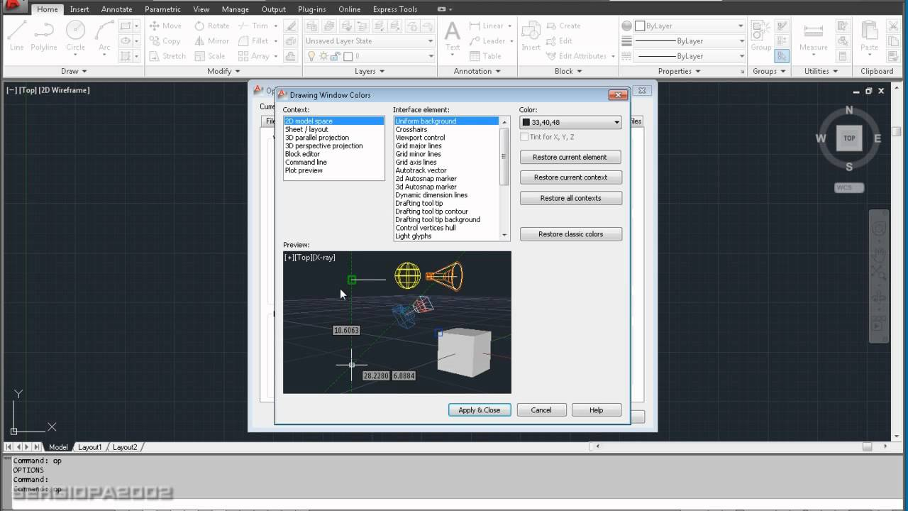 How To Change The Background Color In Autodesks AutoCAD Drawing Software