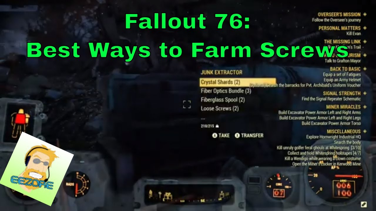 Fallout 76 ways to get Loose Screws
