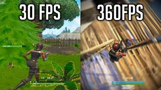 FORTNITE RENDER SETTINGS SHOWCASE 30FPS vs 60FPS vs 120FPS vs 240FPS vs 360FPS thumbnail