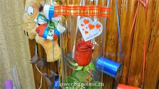 Букет  Роза в целлофане с наклейкой