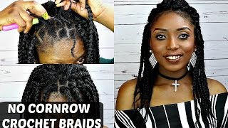 crochet box braids no cornrow tutorial on short natural hair