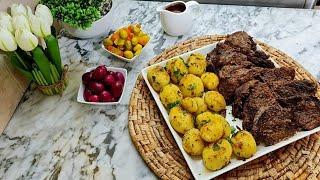 لحم محمر فالكوكوطة طايب زبدة مع بطاطا صوتي 🥔🥩🥰