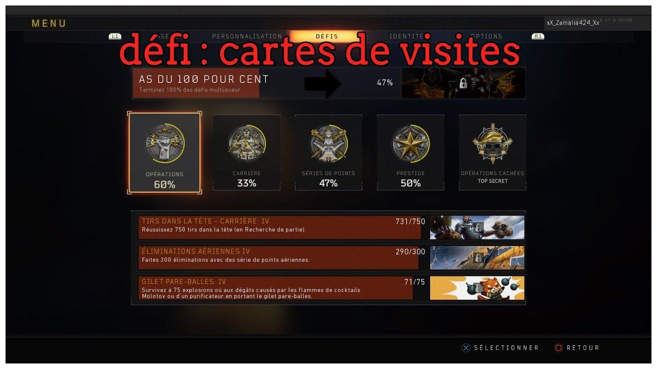 Black Ops Defi Cartes De Visite Armes En Diamant Mitraillette