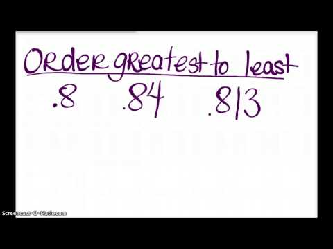 Greater than, less than, equal to DECIMALS review