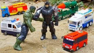 The Hulk Toys Rescues Cars And Truck | Military Police Car Fire Truck Tayo Bus | Kids And Toys