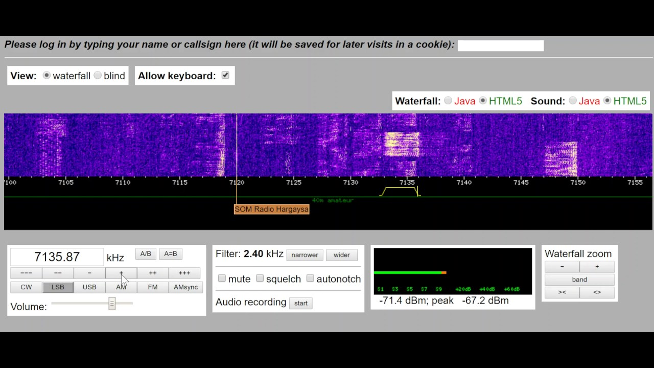 How to tune in an Amateur Radio LSB signal using a WebSDR