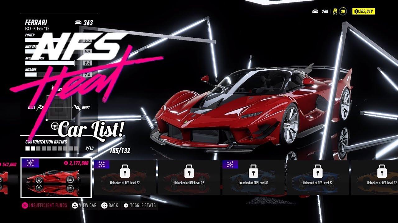 Nfs Heat Full Car List Prices Youtube