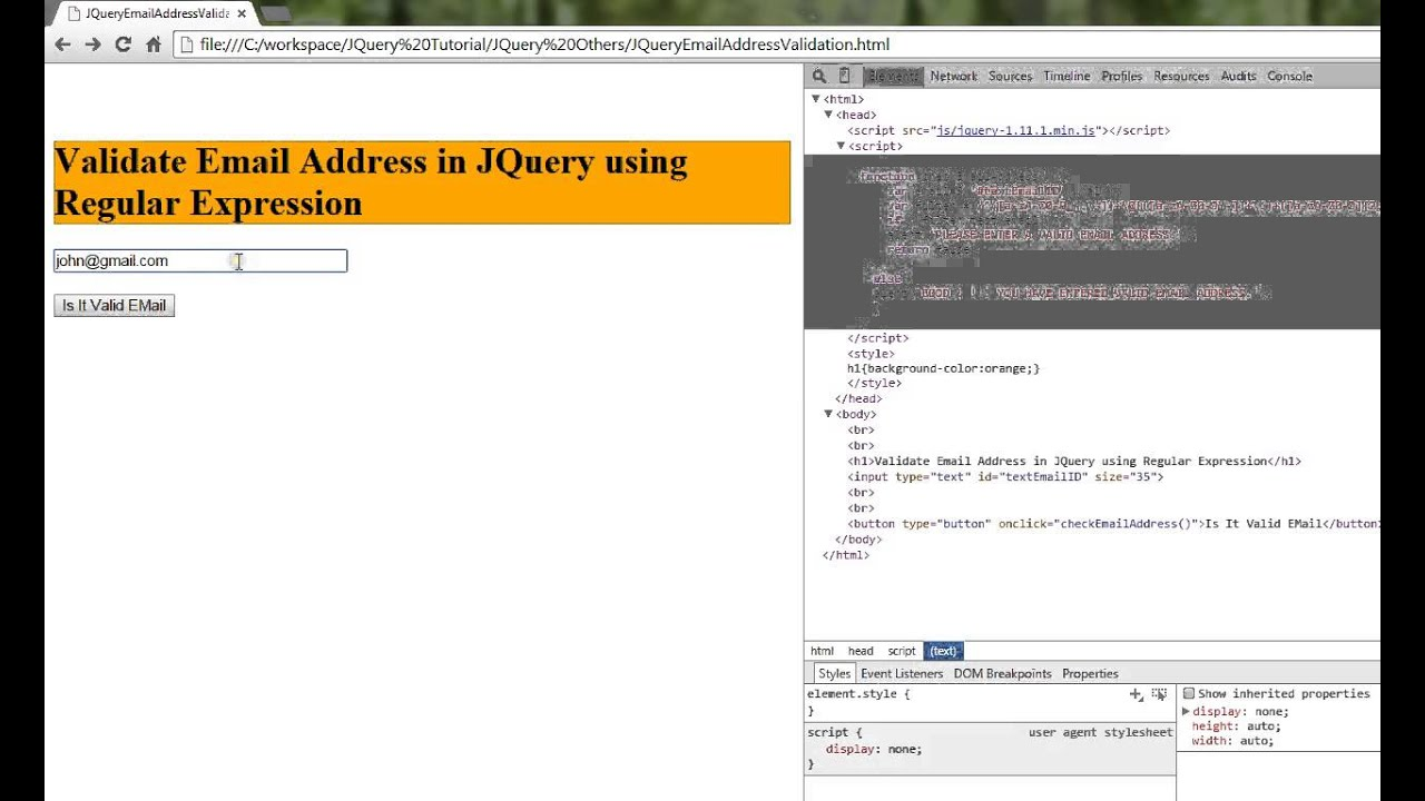 JQUERY VALIDATE EMAIL ADDRESS DEMO - YouTube