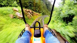 Smoky Mountain Alpine Coaster in the rain on-ride HD POV @60fps