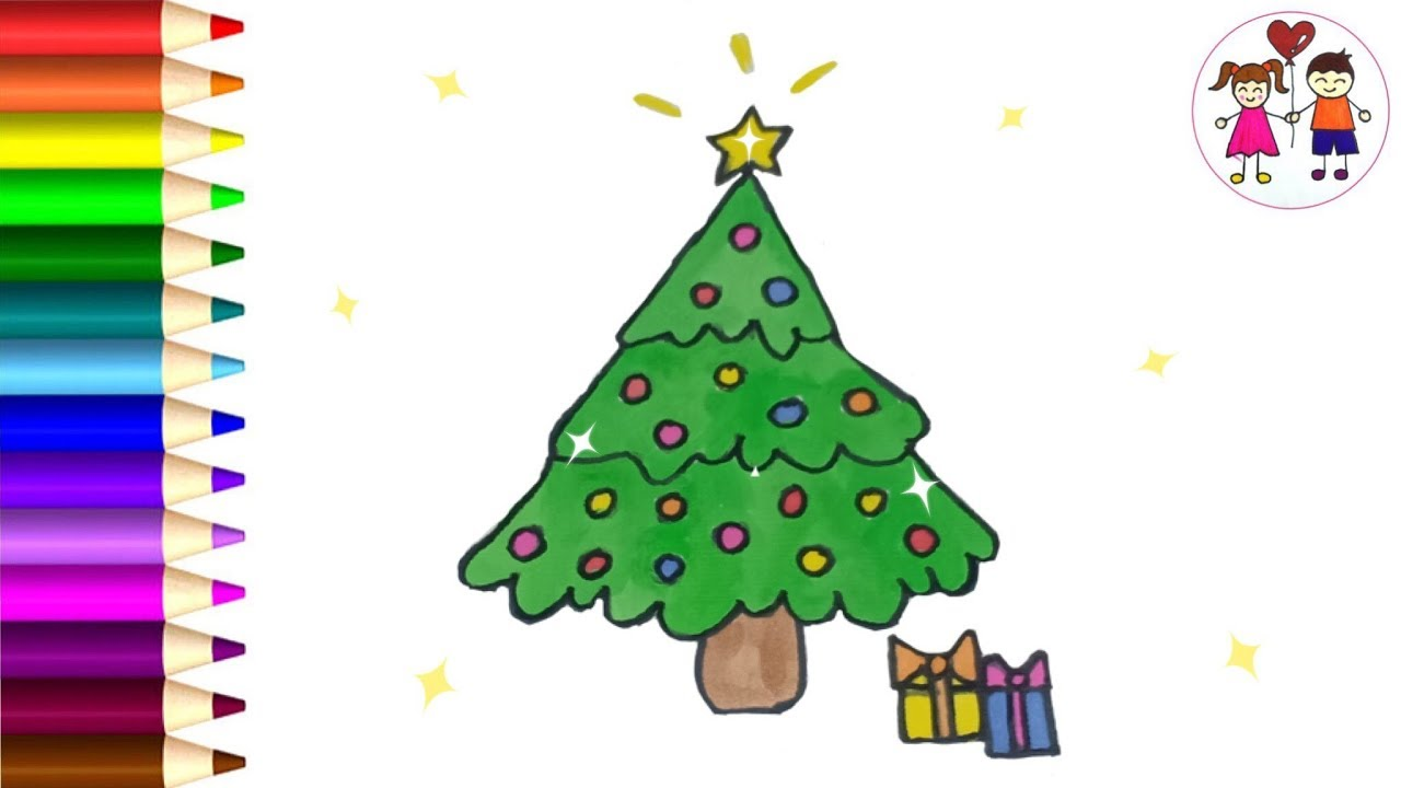 How To Draw A Christmas Tree For Kids | Easy Draw And ...