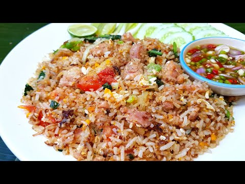 กับข้าวกับปลาโอ 805 ข้าวผัดแหนม วิธีหุงข้าวทำข้าวผัดให้เป็นเม็ดร่วนสวย fried rice fermented pork