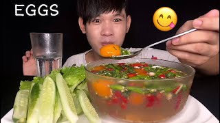 MUKBANG ASMR EATING SPICY PICKLED EGGS | Pickled eggs yolk in fish sauce ( Spicy Delicious)
