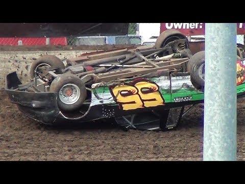 Sportsman Truck roll-over @ Willamette Speedway 2017