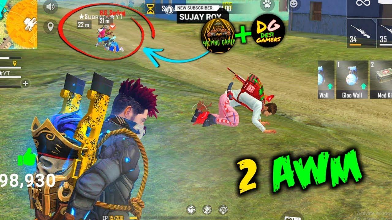 2 AWM Ajjubhai Play with Subrata+Helping Gamer and Desi Gamer - Garena Free Fire