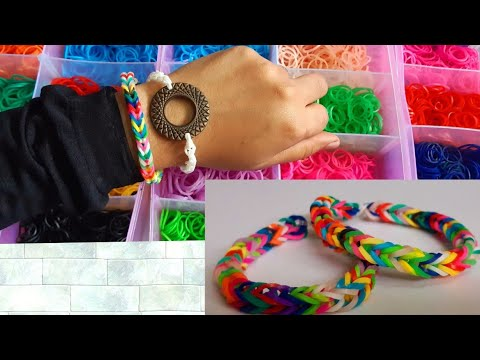 2 Beautiful Rubber Band Bracelets | How To Make Rainbow Loom Fishtail Bracelets With Your Fingers