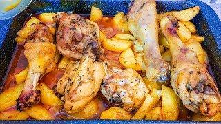 Кисло-сладкий маринад для курицы с гарниром.