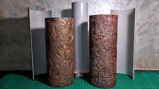 Form for casting a vase from gypsum | Vase from gypsum and leaves | Vase made of gypsum and foil