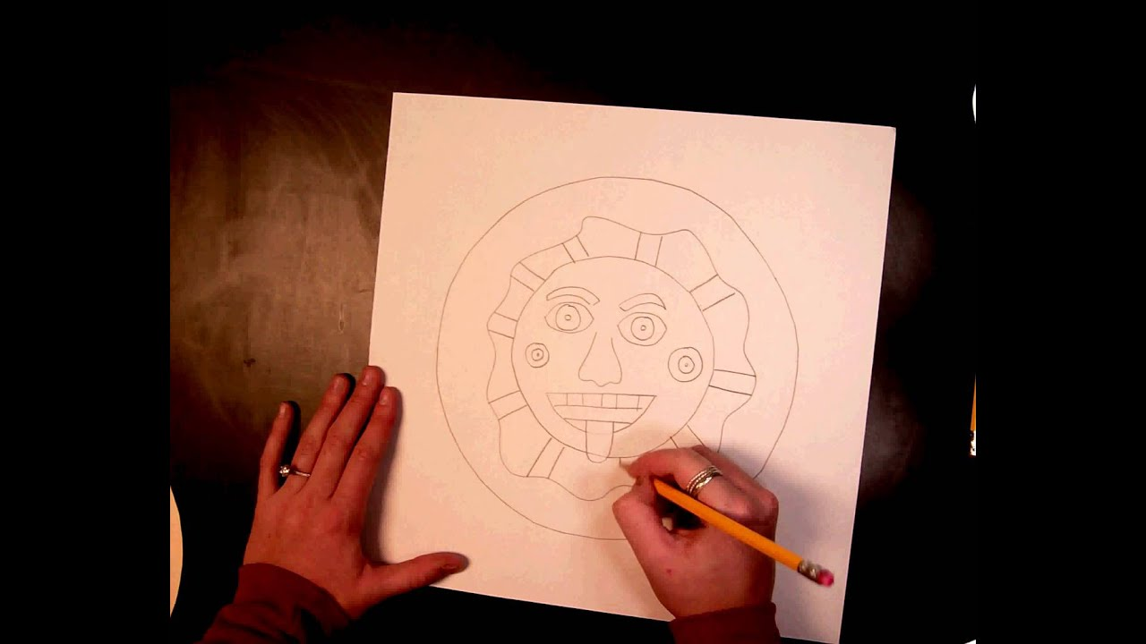 Aztec sun drawing (1 of 4) - YouTube