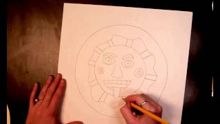 Aztec sun drawing (1 of 4)