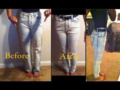DIY: High waisted skinny jeans - YouTube