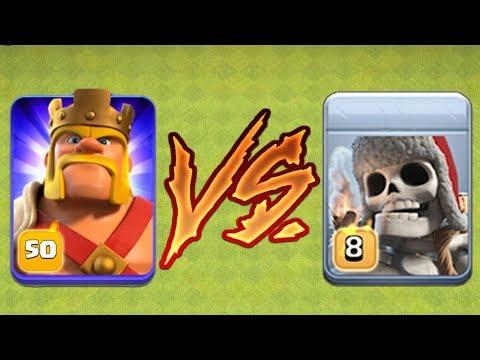 Clash Of Clans - GIANT SKELETON Vs MAX LEVEL 50 BARBARIAN KING!