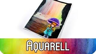 Art Journaling: Gorjuss vor Regenbogen-Wasserfall - Malen mit Aquarellfarben