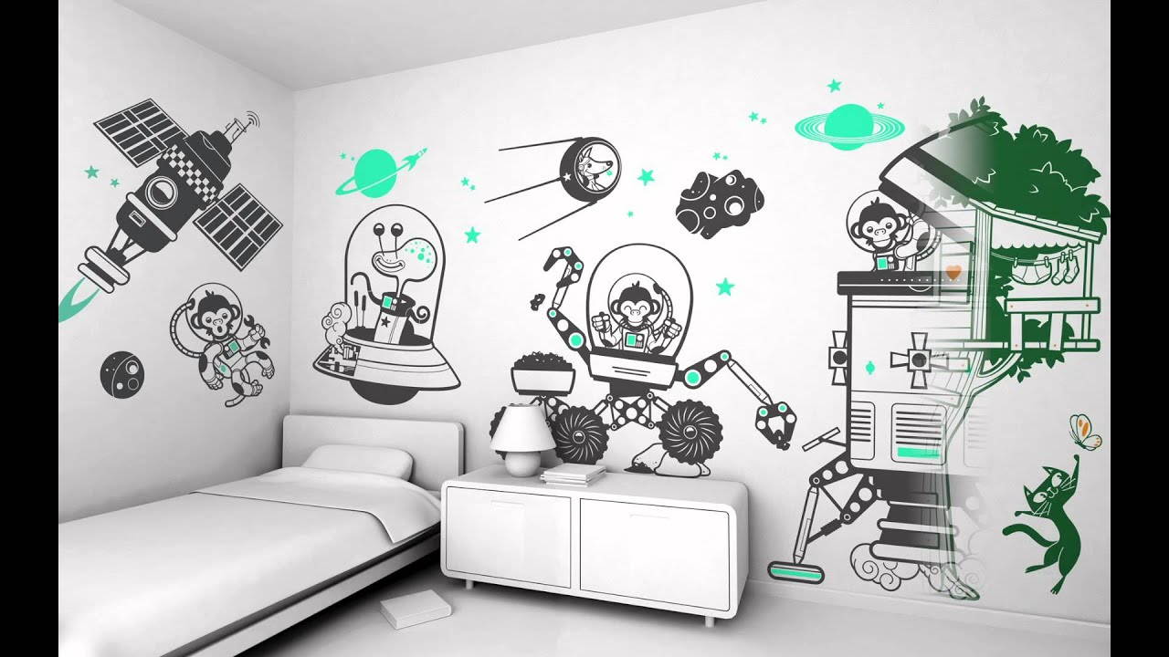 e glue kids wall stickers youtube. Black Bedroom Furniture Sets. Home Design Ideas