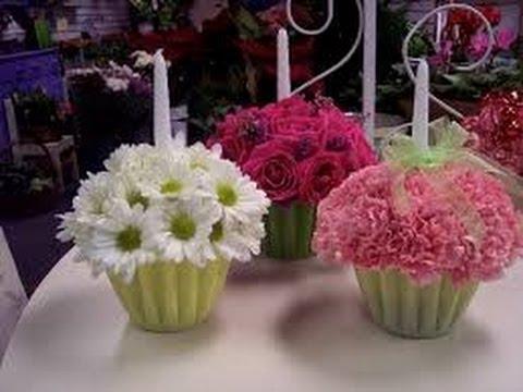 Como hacer centros de mesa con flores youtube Hacer mesa de centro facil