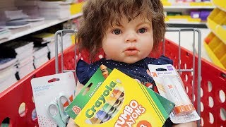 Reborn Toddler Doll Goes Back to School Shopping for Preschool Daycare Supplies